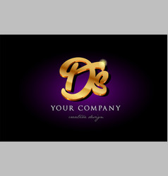 ds d s 3d gold golden alphabet letter metal logo vector image