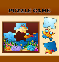 Educational puzzle game for preschool children wit vector