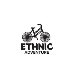Ethnic bicycle logo design template vector