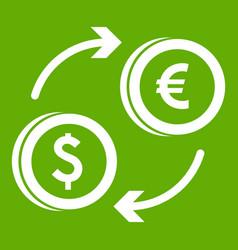 euro dollar euro exchange icon green vector image vector image