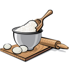 Flour and eggs vector