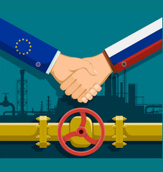 Gas pipeline between russia and european union vector