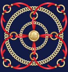 Golden chains and red ribbons medalion pattern vector