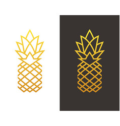 Golden linear pineapple symbol vector