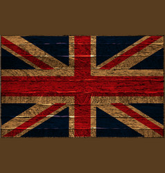 great britain flag painted on old wood background vector image