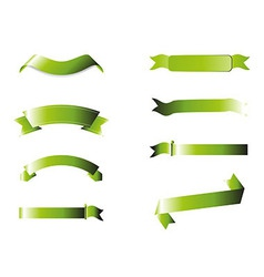 Green Ribbons Collection Isolated On White Backgr vector image