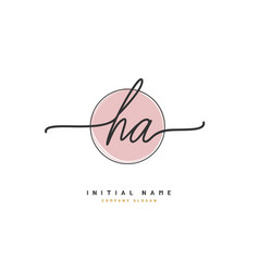 h a ha beauty initial logo handwriting logo vector image