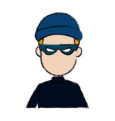 hacker character portrait thief technology image vector image