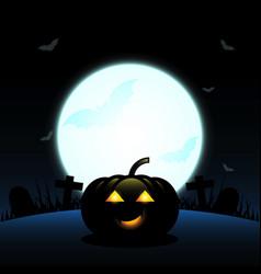 halloween pumpkin created full moon background vector image