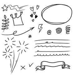 Hand drawn set doodle elements for concept design vector