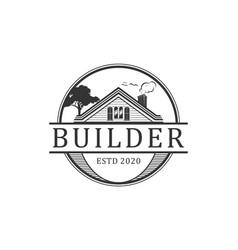 Home builder logo vintage design vector