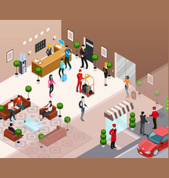 Hotel interior isometric concept vector