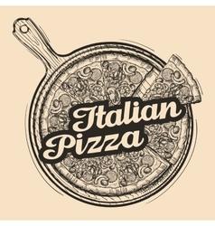 Italian pizza Hand drawn food Sketch vector
