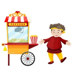 Man and popcorn vendor vector