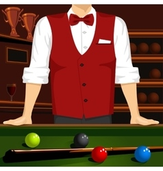 Man leaning on a pool table with cue stick vector