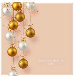 merry christmas card with hanging baubles vector image