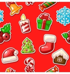 Merry christmas seamless pattern set icons on red vector