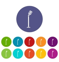 Microphone on stand set icons vector