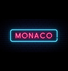 monaco neon sign bright light signboard banner vector image