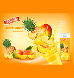 mulitivitamin juice with fresh fruits and vector image