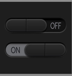 on and off slider switch buttons black 3d oval vector image