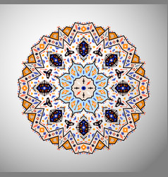 Ornamental round colorful geometric pattern vector