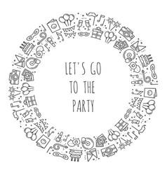 party round frame celebration pattern birthday vector image