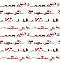 Pattern with rural line landscape vector
