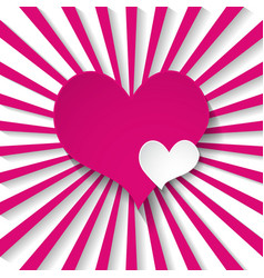 pink background with rays and hearts vector image