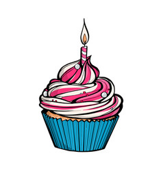 Pink birthday cupcake with burning candle vector