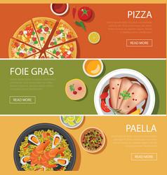 popular food web banner flat design vector image