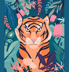 Portrait a tiger in a jungle with plants vector