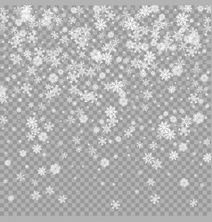 realistic falling white snow overlay on vector image