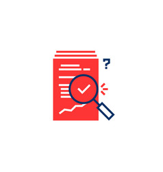 Red and blue report overview icon vector