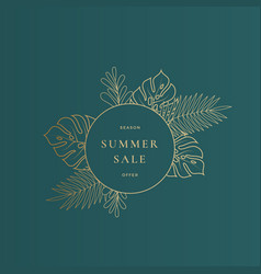 round monstera tropical leaves summer sale card vector image