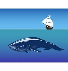 Sailing ship and huge whale in deep vector image