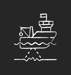 seafloor mapping chalk white icon on black vector image