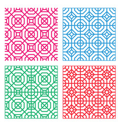 seamless geometric tracery pattern in indian style vector image
