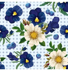 seamless pattern of the roses the pansies and the vector image