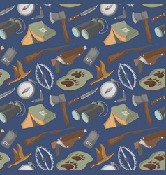 seamless pattern with hunting equipment icons vector image
