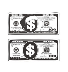 Set 100 dollar in black and white colors vector