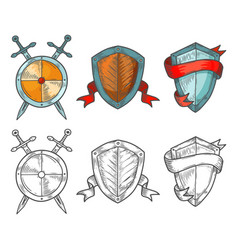 set historical shields with ribbons and swords vector image