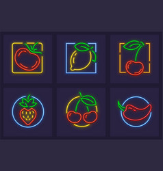 set neon icons with fruits vector image