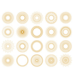 set sunburst design elements gold color vector image