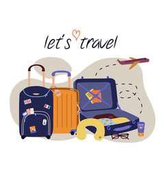 set with travel elements luggage bags suitcases vector image