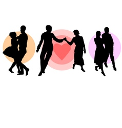 Silhouette of three dancing couples vector