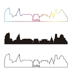Sofia skyline linear style with rainbow vector