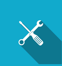 spanner and screwdriver tools with long shadow vector image