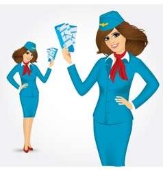 stewardess with tickets vector image