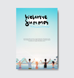 summer love people relax hands up landscape beach vector image
